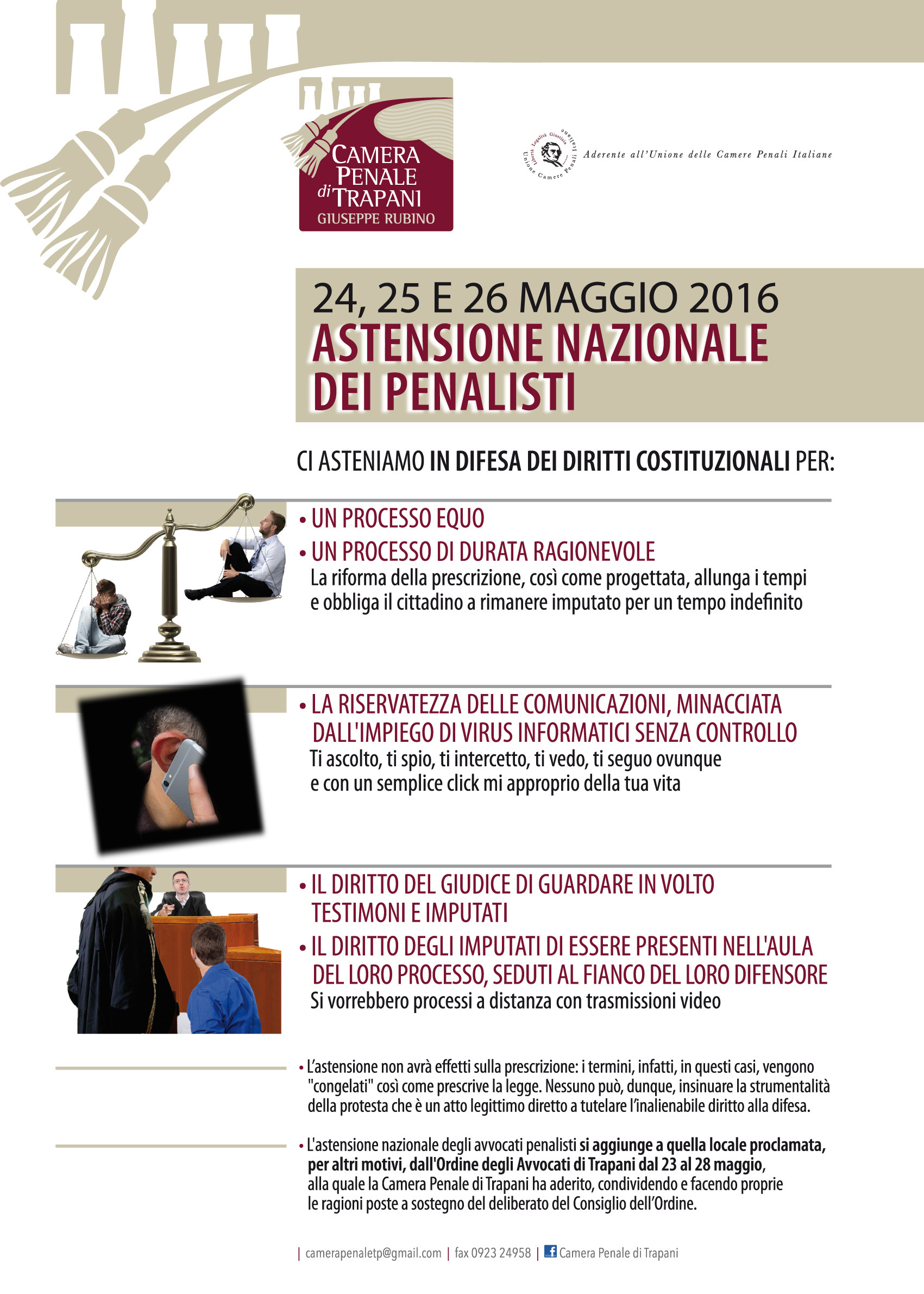 La camera penale di Trapani aderisce all'astensione nazionale. Le iniziative dal 23 al 28 maggio