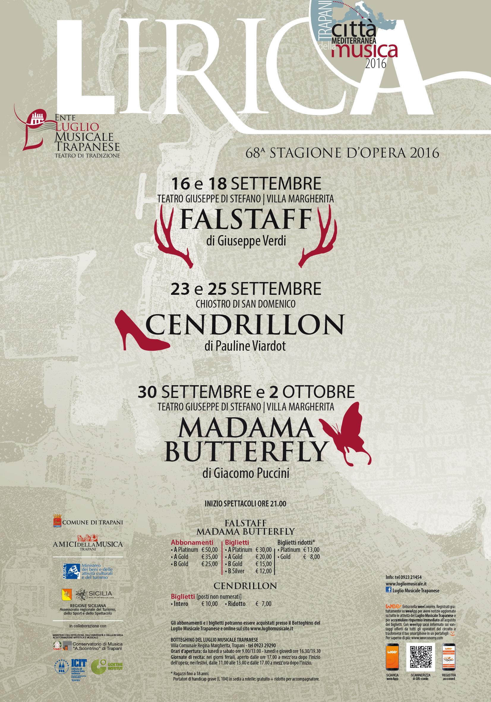"""Tre opere per la nuova stagione del Luglio Musicale Trapanese. Si comincia il 16 settembre con """"Falstaff"""""""