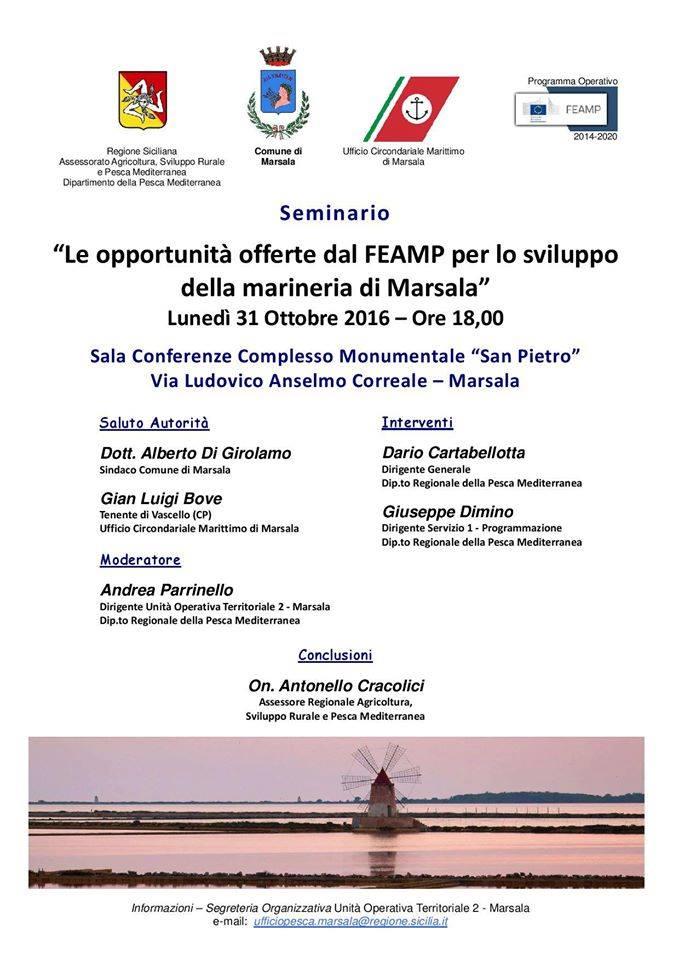 """A San Pietro un seminario Feamp """"Opportunità di sviluppo della marineria di Marsala"""""""