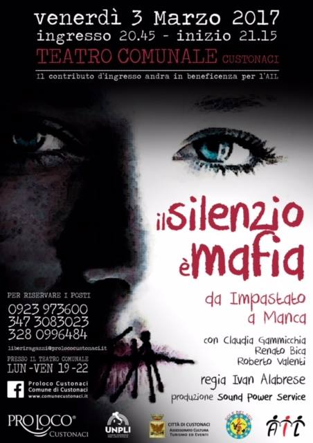 """""""Teatro Festival"""": in scena a Custonaci la tragedia teatrale """"Il silenzio è mafia – da Impastato a Manca"""""""