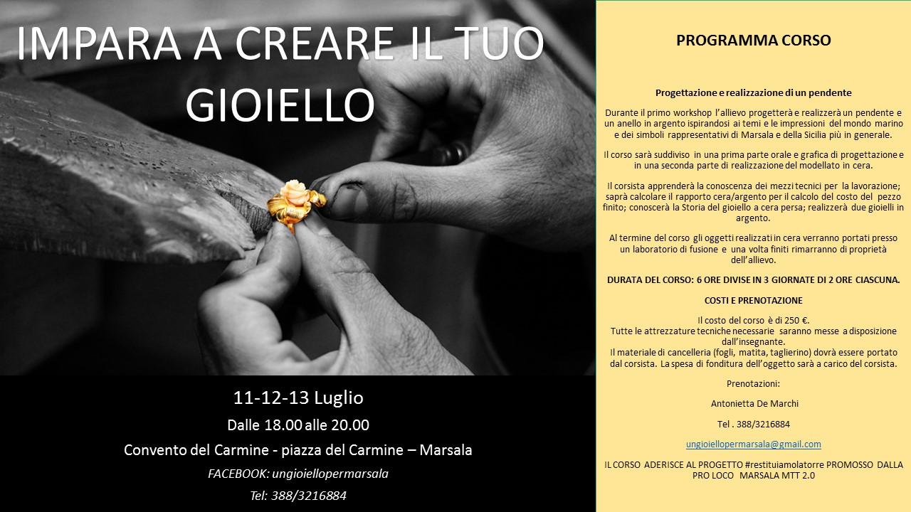 A Marsala un workshop di oreficeria. Il ricavato del corso alla Torre del Carmine per il Progetto della Pro Loco 2.0