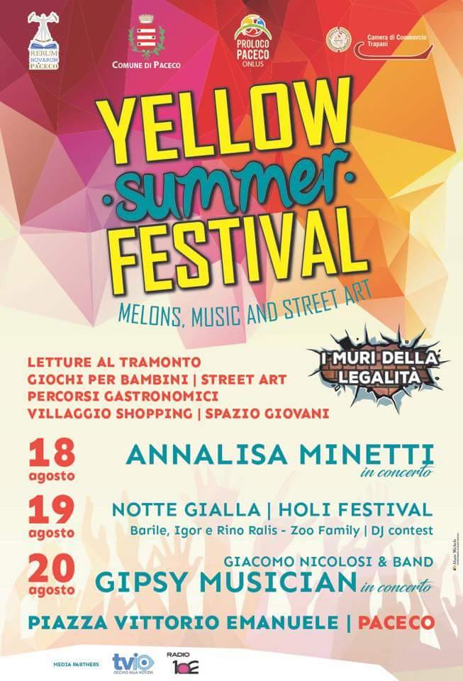 A Paceco il Yellow Summer Festival, ospite d'eccezione Annalisa Minetti