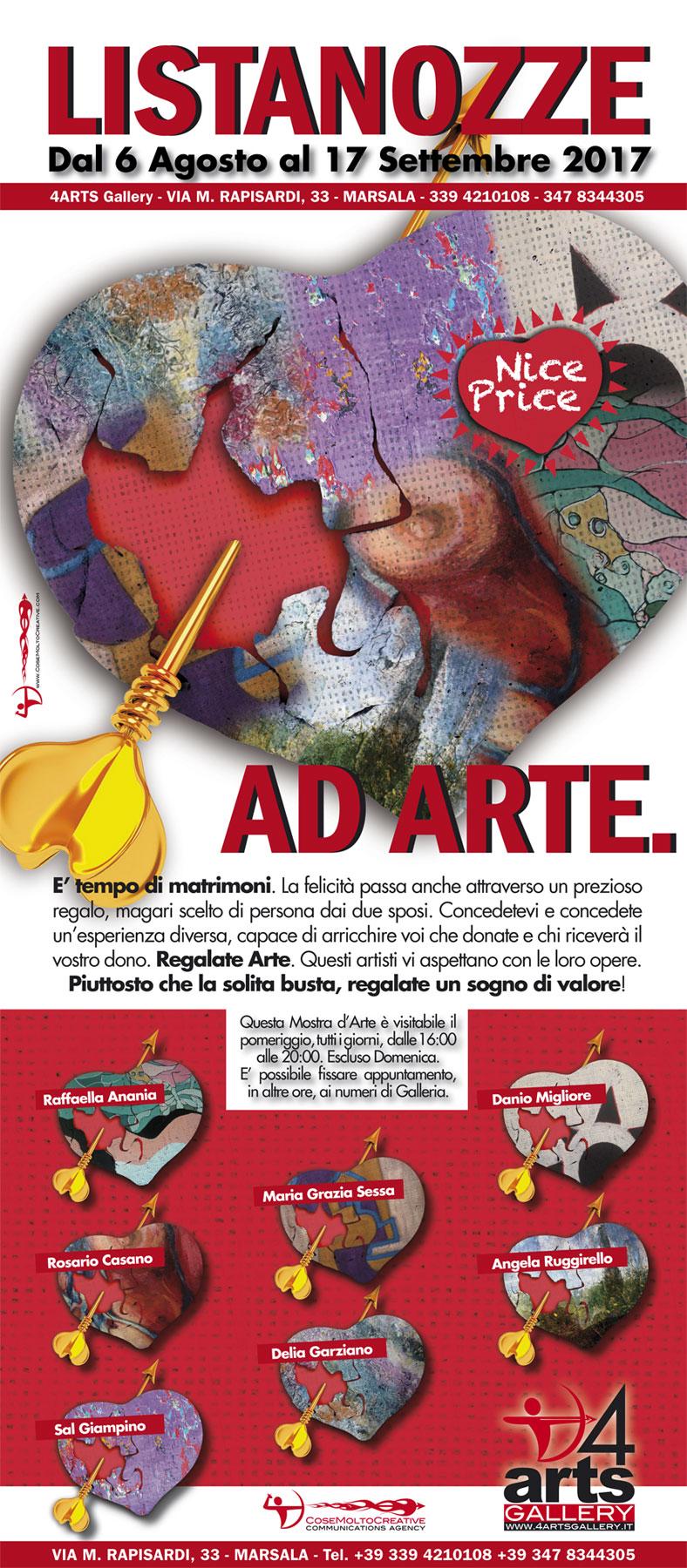 """""""Listanozze ad Arte"""" dal 6 agosto a 4Arts Gallery in mostra le opere di artisti del territorio"""