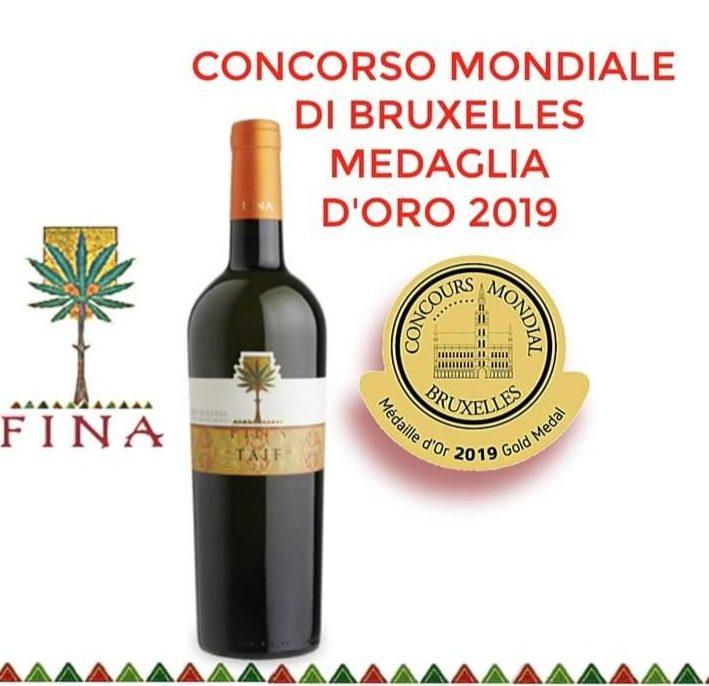 Concorso Mondiale di Bruxelles: Medaglia d'Oro per il Taif delle Cantine Fina
