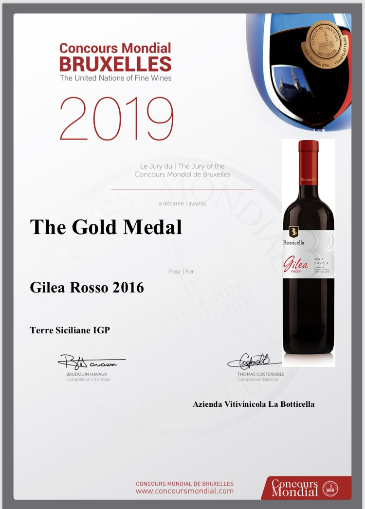 La Botticella conquista la Medaglia d'Oro per Gilea Rosso al Concorso Mondiale di Bruxelles