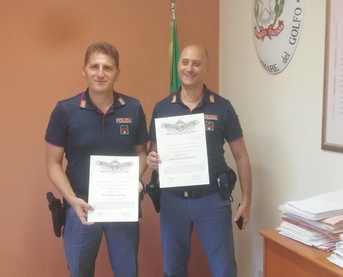 Atti di eroismo a Castellammare, premiati due poliziotti
