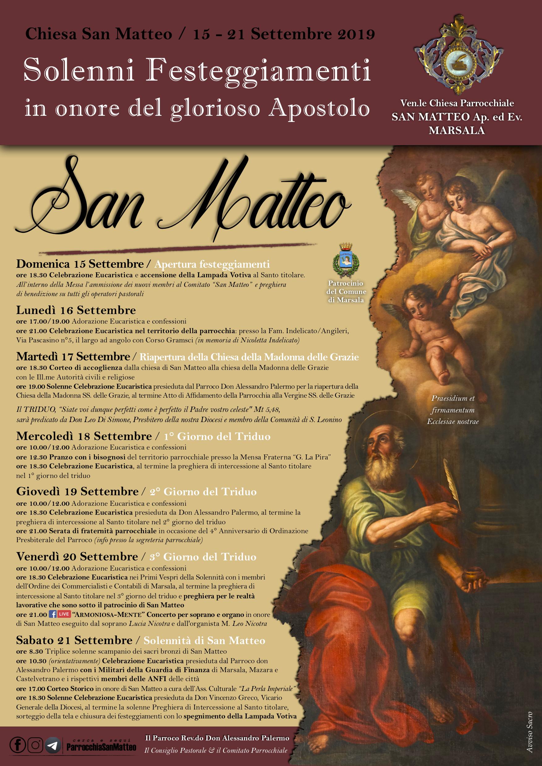 La comunità marsalese di San Matteo si appresta a festeggiare il suo santo