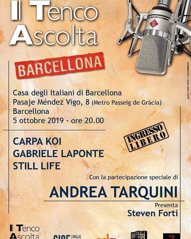 Il Tenco Ascolta torna a Barcellona. Alla Casa degli Italiani anche il marsalese Carpa Koi