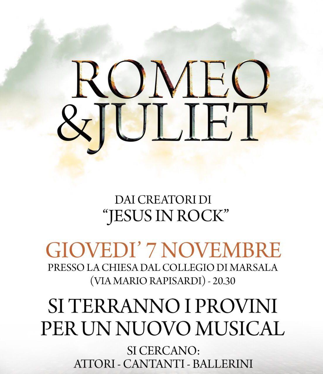 """""""Romeo & Juliet"""", i provini del musical domani alla Chiesa del Collegio di Marsala"""