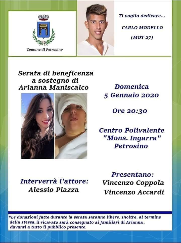 """Petrosino: """"Ti voglio dedicare"""", iniziativa benefica in ricordo di Carlo Modello per aiutare Arianna Maniscalco"""