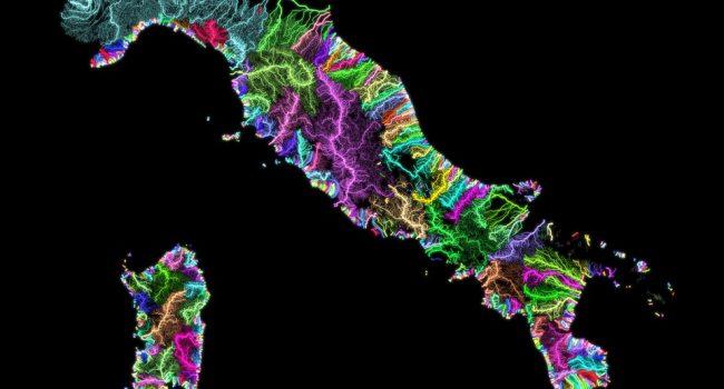 L'arte idrografica: quando il reticolato dei corsi d'acqua si colora
