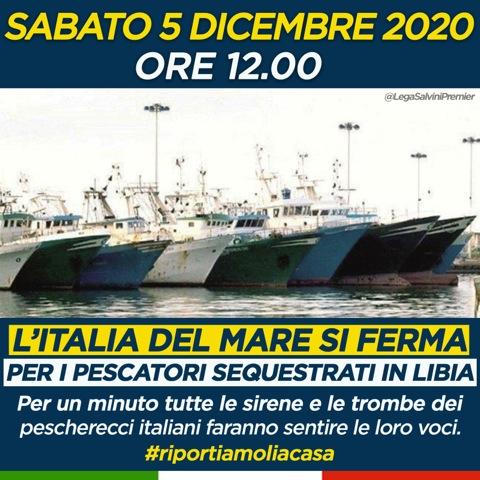 L'Italia del mare non si ferma, iniziativa della Lega. Le sirene suoneranno per i marinai in Libia