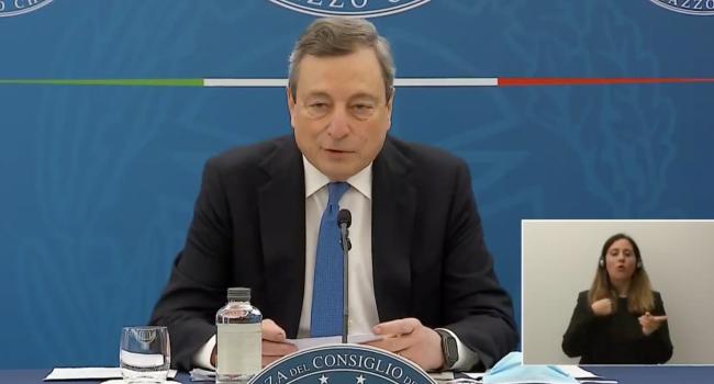 """Draghi: """"Dal 26 si riparte con la zona gialla, c'è ottimismo per i dati e per vaccinazioni"""""""